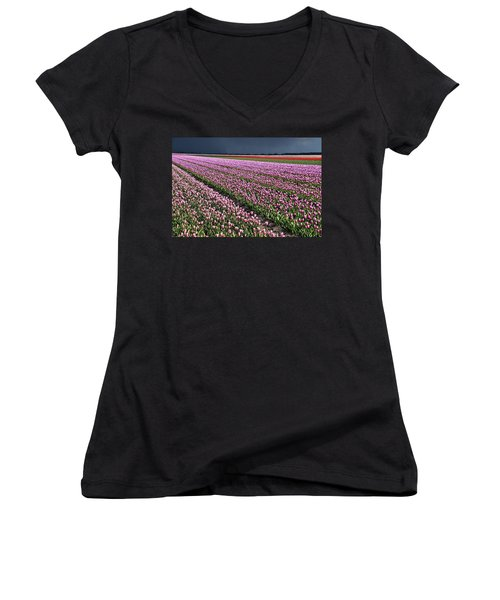 Half Side Purple Tulip Field Women's V-Neck T-Shirt