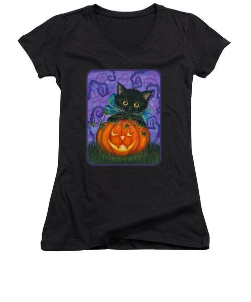 Halloween Black Kitty - Cat And Jackolantern Women's V-Neck