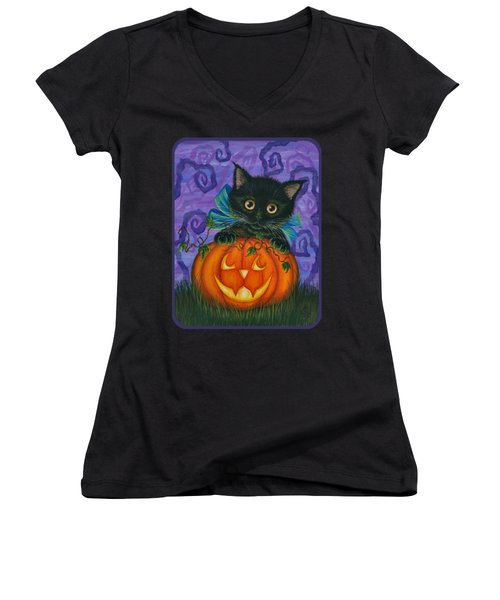 Halloween Black Kitty - Cat And Jackolantern Women's V-Neck T-Shirt