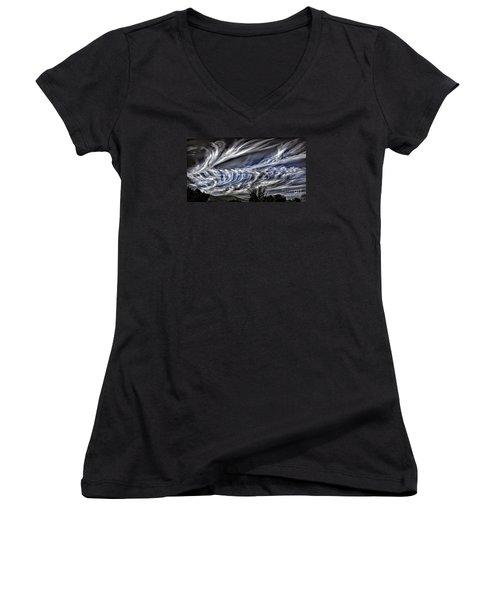 Halloween Clouds Women's V-Neck T-Shirt (Junior Cut) by Walt Foegelle