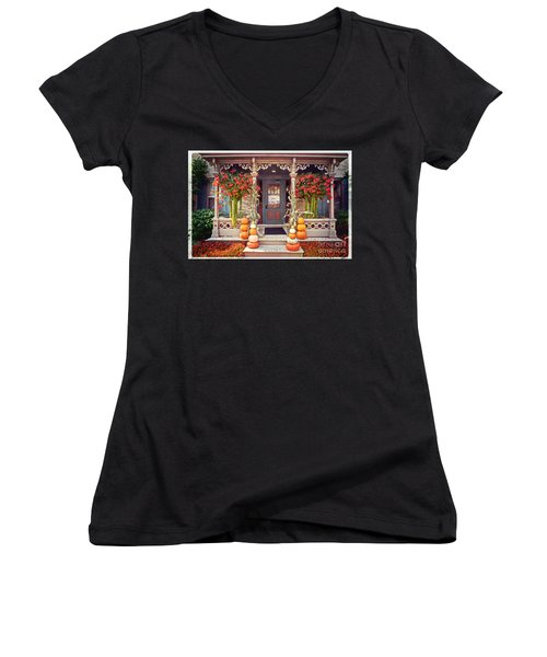 Halloween In A Small Town Women's V-Neck T-Shirt (Junior Cut) by Mary Machare