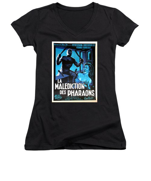 Hammer Movie Poster The Mummy La Malediction Des Pharaons Women's V-Neck (Athletic Fit)