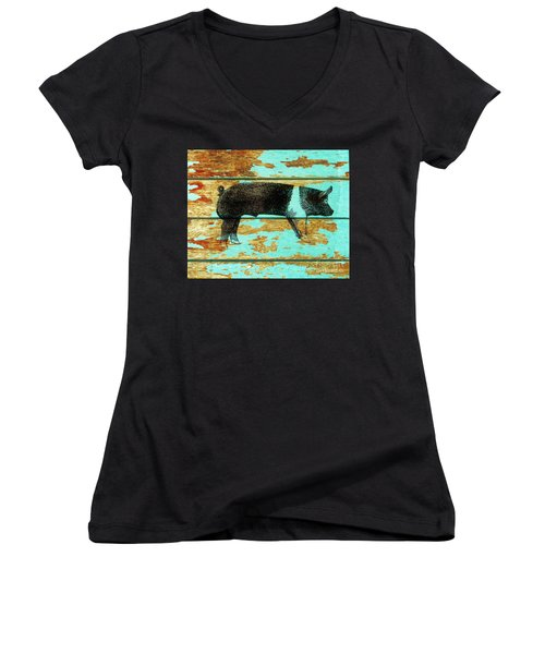 Hampshire Boar 1 Women's V-Neck T-Shirt (Junior Cut) by Larry Campbell