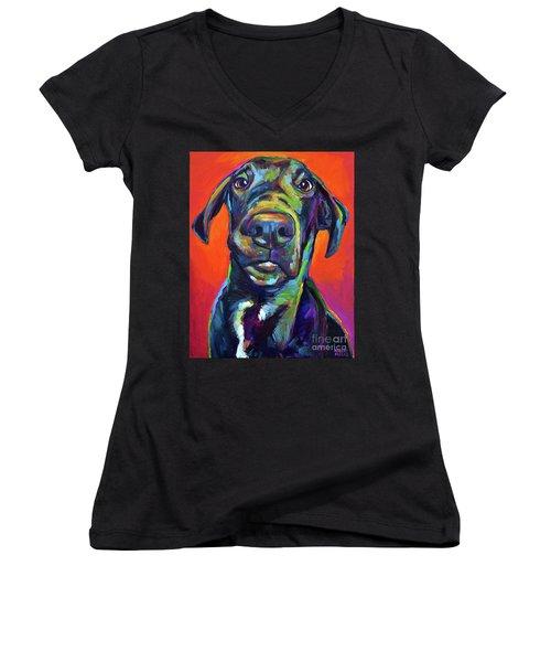 Handsome Hank Women's V-Neck T-Shirt (Junior Cut) by Robert Phelps