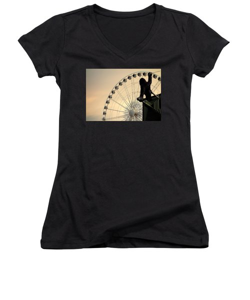 Women's V-Neck T-Shirt (Junior Cut) featuring the photograph Hanging On The Wheel by Valentino Visentini