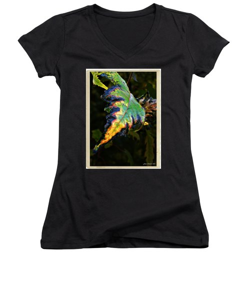 Women's V-Neck T-Shirt (Junior Cut) featuring the photograph Hanging Out by Joan  Minchak