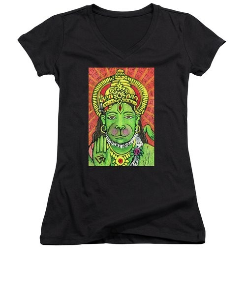 Hanuman Portrait  Women's V-Neck (Athletic Fit)