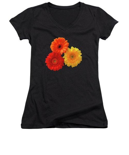 Happiness - Orange Red And Yellow Gerbera On Black Women's V-Neck T-Shirt (Junior Cut)