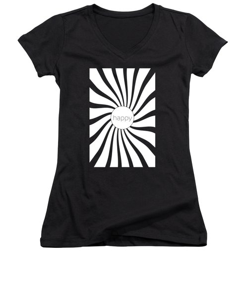Happy - Black And White Swirl Women's V-Neck (Athletic Fit)