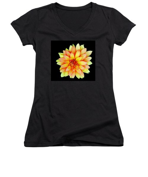 Happy Dahlia Women's V-Neck (Athletic Fit)