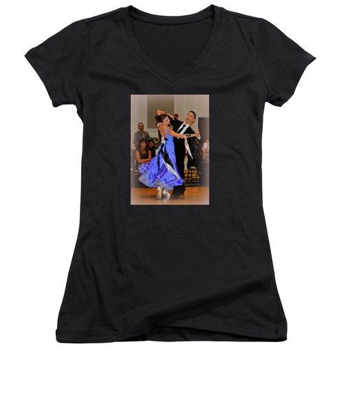 Happy Dancing Women's V-Neck T-Shirt (Junior Cut) by Lori Seaman