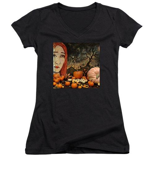 Happy Halloween Women's V-Neck T-Shirt (Junior Cut) by Jeff Burgess