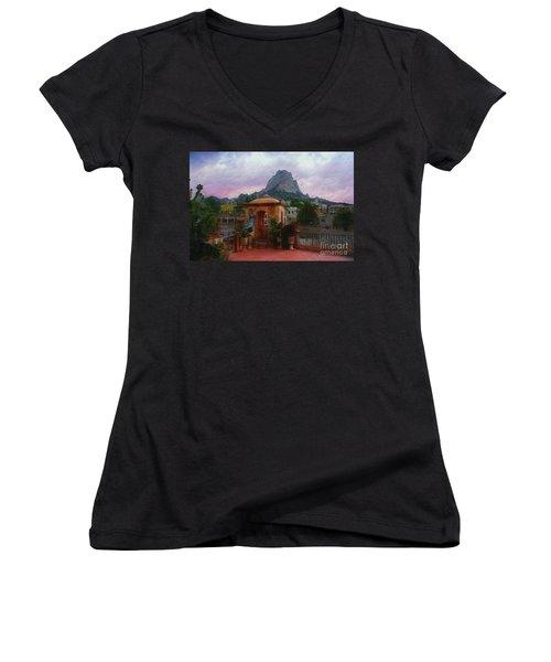 Happy Hour Women's V-Neck T-Shirt (Junior Cut) by John Kolenberg