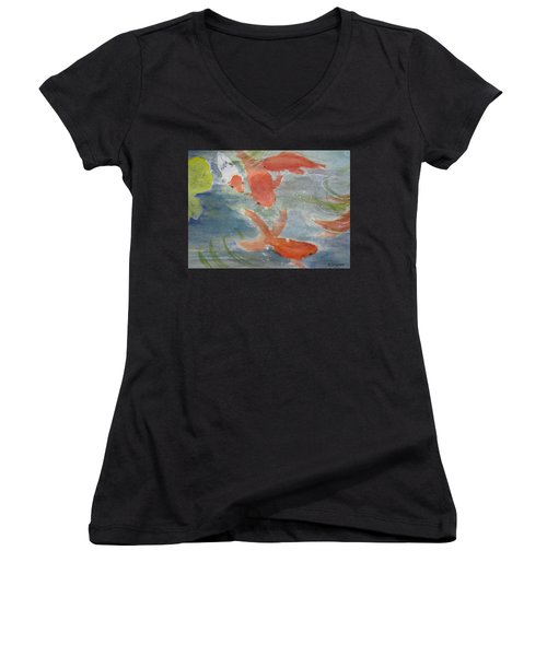 Happy Koi Women's V-Neck T-Shirt (Junior Cut) by Elvira Ingram