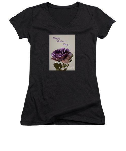 Happy Mothers Day No. 2 Women's V-Neck T-Shirt (Junior Cut) by Sherry Hallemeier