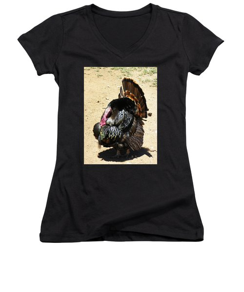 Happy Thanksgiving Women's V-Neck T-Shirt (Junior Cut) by Joseph Frank Baraba