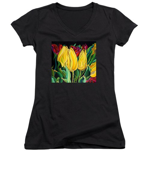 Happy-time Yellow Three-lips Women's V-Neck