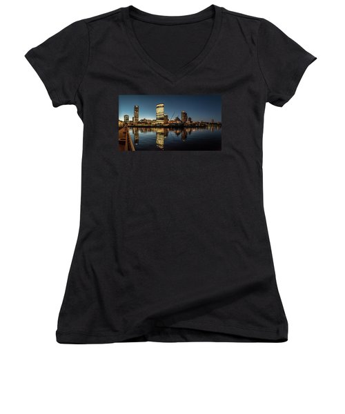Women's V-Neck T-Shirt (Junior Cut) featuring the photograph Harbor House View by Randy Scherkenbach