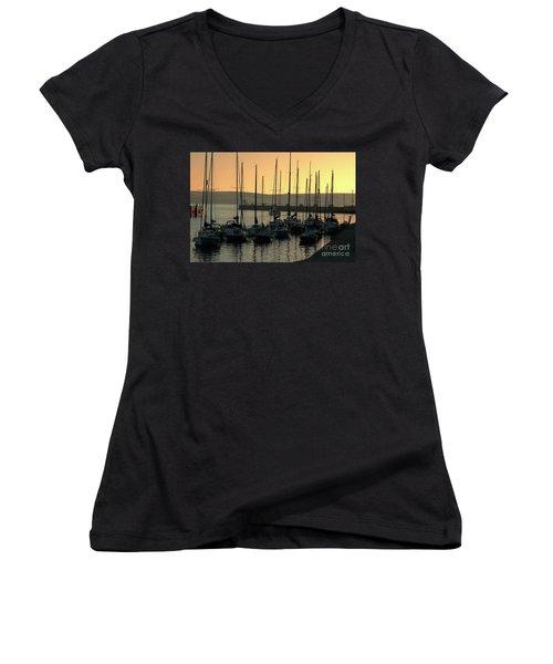Harbor Sunrise Women's V-Neck T-Shirt