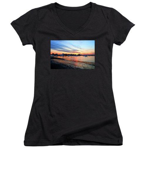 Harbor Sunset At Low Tide Women's V-Neck