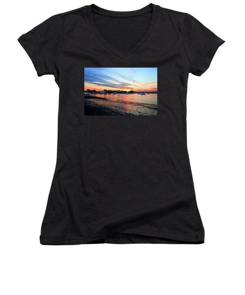 Harbor Sunset At Low Tide Women's V-Neck (Athletic Fit)