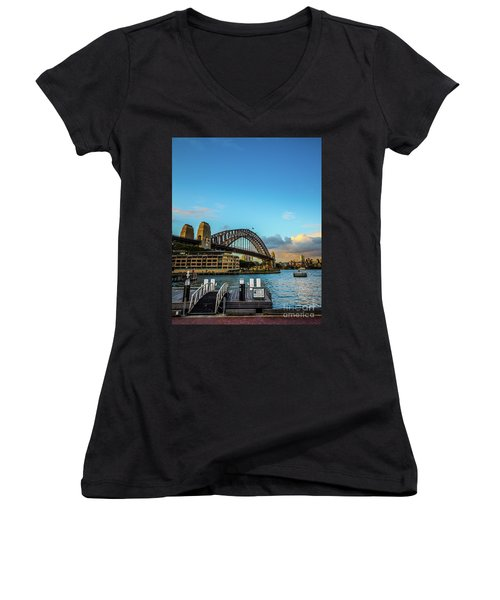 Women's V-Neck T-Shirt (Junior Cut) featuring the photograph Harbour Sky by Perry Webster