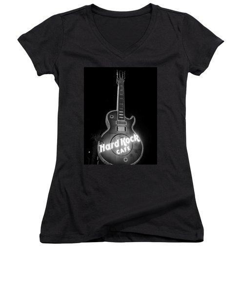 Hard Rock Cafe Sign B-w Women's V-Neck