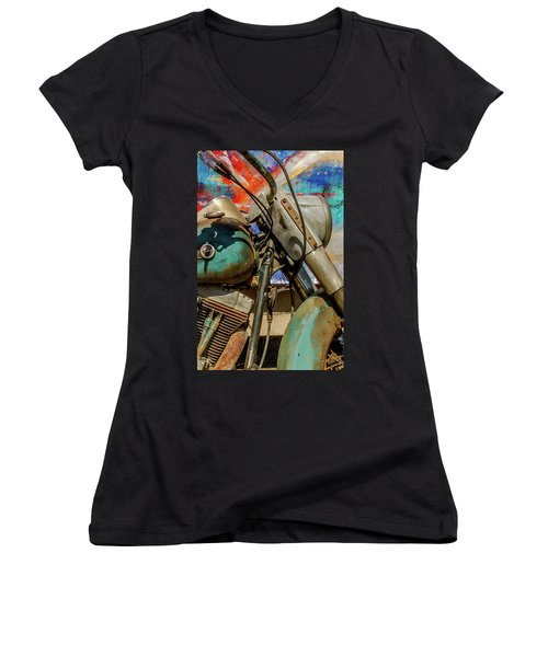 Women's V-Neck T-Shirt (Junior Cut) featuring the photograph Harley Davidson - American Icon II by Bill Gallagher