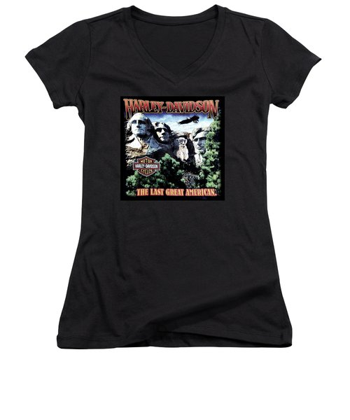 Harley Davidson The Last Great American Women's V-Neck T-Shirt (Junior Cut) by Gina Dsgn