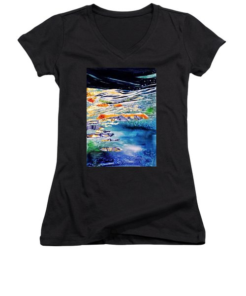 Harmony In Blue And Gold  Women's V-Neck T-Shirt (Junior Cut) by Trudi Doyle