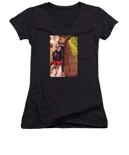 Harry Potters Haverthwaite Railway Station Women's V-Neck T-Shirt (Junior Cut) by Graham Hawcroft pixsellpix