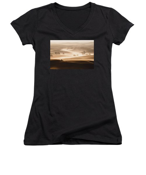 Harvest Dust Women's V-Neck T-Shirt (Junior Cut) by Chris McKenna