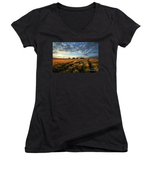 Harvest Women's V-Neck T-Shirt (Junior Cut) by Franziskus Pfleghart