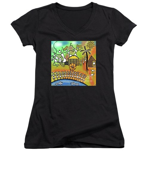Harvest Women's V-Neck T-Shirt (Junior Cut) by Latha Gokuldas Panicker