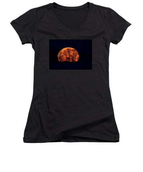 Harvest  Moon Rising Women's V-Neck (Athletic Fit)