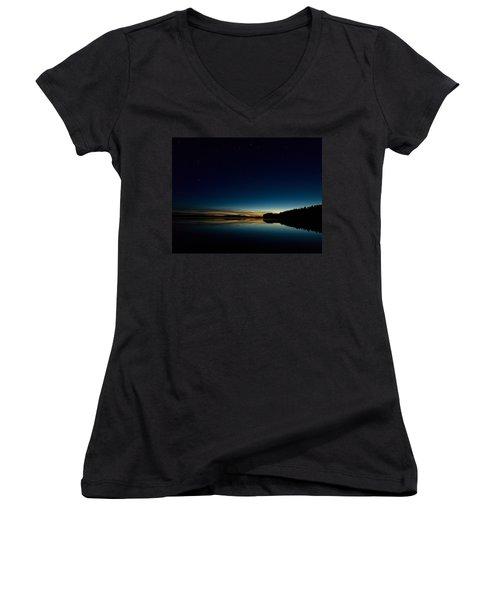Women's V-Neck T-Shirt (Junior Cut) featuring the photograph Haukkajarvi By Night With Ursa Major 1 by Jouko Lehto
