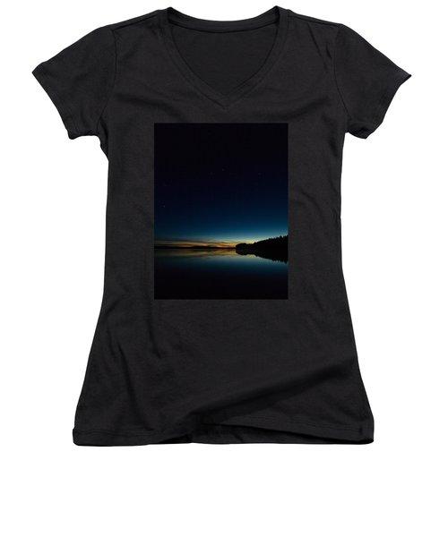 Women's V-Neck T-Shirt (Junior Cut) featuring the photograph Haukkajarvi By Night With Ursa Major 2 by Jouko Lehto