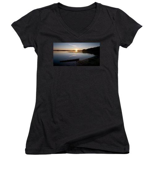 Women's V-Neck T-Shirt (Junior Cut) featuring the photograph Haukkajarvi Evening by Jouko Lehto
