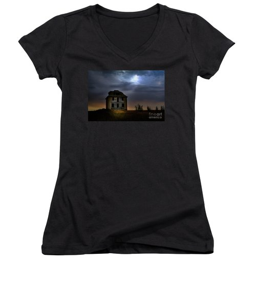 Haunted House Women's V-Neck (Athletic Fit)