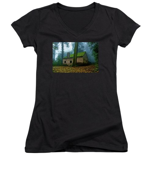 Women's V-Neck T-Shirt (Junior Cut) featuring the photograph Haunted House by Jorge Maia