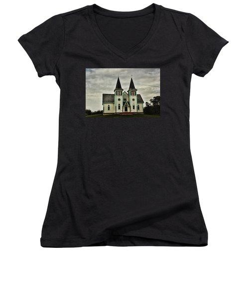 Women's V-Neck T-Shirt (Junior Cut) featuring the photograph Haunted Kipling Church by Ryan Crouse