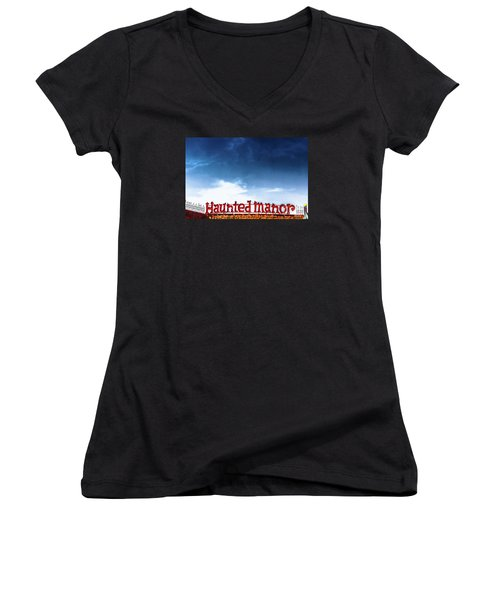 Women's V-Neck T-Shirt (Junior Cut) featuring the photograph Haunted Manor  by Colleen Kammerer