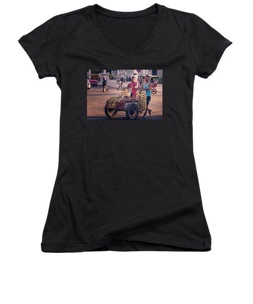 Women's V-Neck T-Shirt (Junior Cut) featuring the photograph Havana Cuba Onion Cart by Joan Carroll