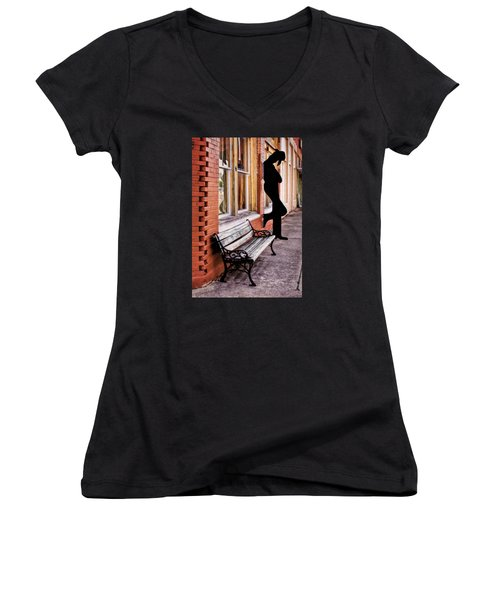 Have A Seat Women's V-Neck T-Shirt (Junior Cut) by David and Carol Kelly