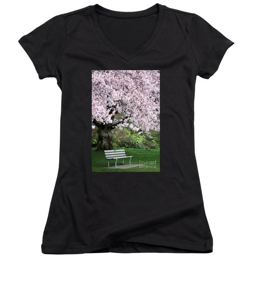 Women's V-Neck T-Shirt (Junior Cut) featuring the photograph Have A Seat by Victor K