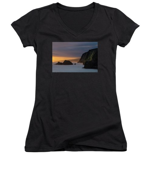 Hawaii Sunrise At The Pololu Valley Lookout Women's V-Neck (Athletic Fit)