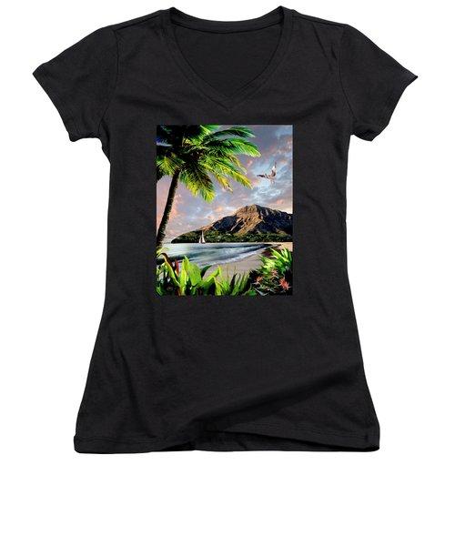 Hawaii Sunset Women's V-Neck T-Shirt (Junior Cut) by Ron Chambers