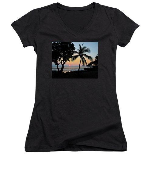 Hawaiian Big Island Sunset  Kailua Kona  Big Island  Hawaii Women's V-Neck T-Shirt (Junior Cut) by Michael Bessler