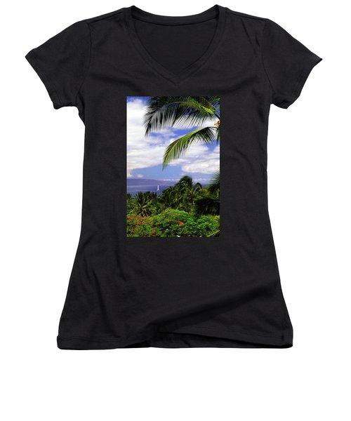Hawaiian Fantasy Women's V-Neck T-Shirt (Junior Cut) by Marie Hicks