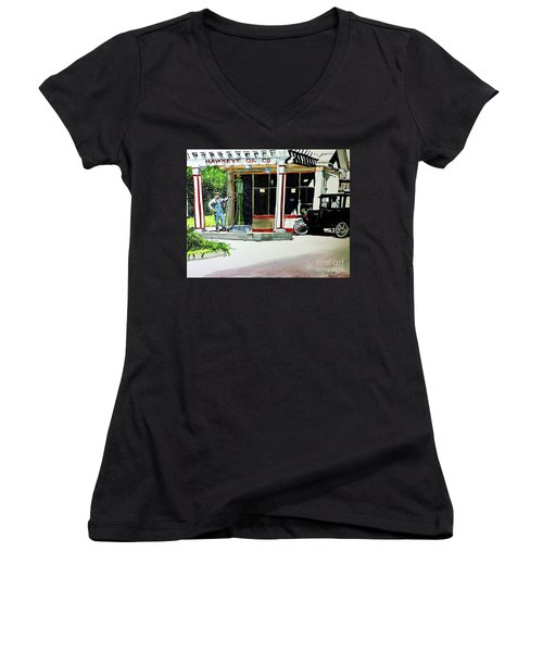 Hawkeye Oil Co Women's V-Neck T-Shirt (Junior Cut) by Tom Riggs